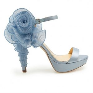 blue wedding shoes strapped