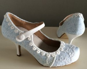 lace blue wedding shoe